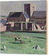 Iona Abbey From The Northwest Wood Print by Francis Campbell Boileau Cadell