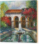 Italian Abbey Garden Scene With Fountain Wood Print by Regina Femrite