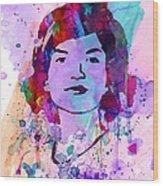 Jackie Kennedy Watercolor Wood Print by Naxart Studio