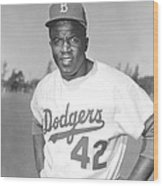 Jackie Robinson Poster Wood Print by Gianfranco Weiss