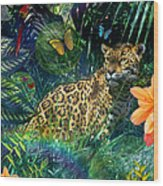 Jaguar Meadow Wood Print by Alixandra Mullins