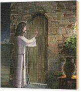 Jesus Knocking At The Door Wood Print by Cecilia Brendel