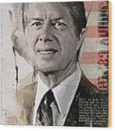 Jimmy Carter Wood Print by Corporate Art Task Force