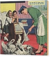 John Bull 1957 1950s Uk Dogs Cleaning Wood Print by The Advertising Archives