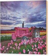 John Deere Pink Wood Print by Darren  White
