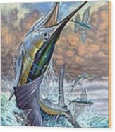 Jumping Sailfish And Flying Fishes Wood Print by Terry Fox