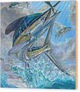 Jumping White Marlin And Flying Fish Wood Print by Terry Fox