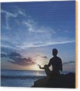 Keeping Sun - Young Man Meditating On The Beach Wood Print by Anna Kaminska
