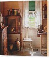 Kitchen - A Cottage Kitchen  Wood Print by Mike Savad