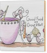 Kitchen Art Cooking Mice Wood Print by Christy Beckwith