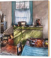 Kitchen - Old Fashioned Kitchen Wood Print by Mike Savad