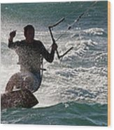 Kite Surfer 01 Wood Print by Rick Piper Photography