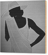 Lady In White Wood Print by Marie Halter