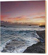 Laie Point Sunrise Wood Print by Sean Davey