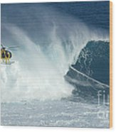 Laird Hamilton Going Left At Jaws Wood Print by Bob Christopher
