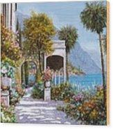 Lake Como-la Passeggiata Al Lago Wood Print by Guido Borelli