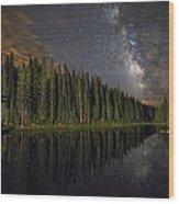 Lake Irene's Milky Way Mirror Wood Print by Mike Berenson