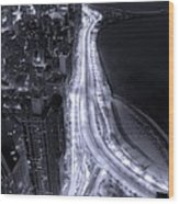 Lake Shore Drive Aerial  B And  W Wood Print by Steve Gadomski