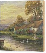 Lakeside Cottage Wood Print by Ghambaro
