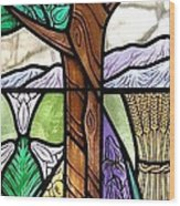 Landscape With Flora Wood Print by Gilroy Stained Glass