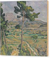 Landscape With Viaduct Wood Print by Paul Cezanne