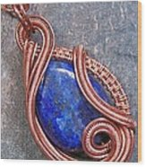 Lapis Lazuli And Copper Sculpted Coil Pendant Wood Print by Heather Jordan