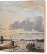 Late Winter In Holland Wood Print by Nicholas Jan Roosenboom