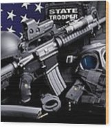 Law Enforcement Tactical Trooper Wood Print by Gary Yost