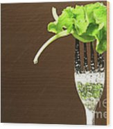 Leaf Of Lettuce On A Fork Wood Print by Sandra Cunningham