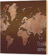 Leather World Map Wood Print by Zaira Dzhaubaeva