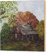 Leaves On The Cabin Roof Wood Print by Eloise Schneider