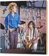 Led Zeppelin Page And Plant Live Aid 1985 Wood Print by Chuck Spang