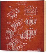 Lego Toy Building Brick Patent - Red Wood Print by Aged Pixel