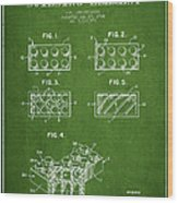 Lego Toy Building Element Patent - Green Wood Print by Aged Pixel