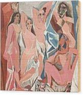 Les Demoiselles D' Avignon Wood Print by Reproduction