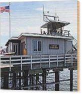 Lifeguard Headquarters On The Municipal Wharf At Santa Cruz Beach Boardwalk California 5d23827 Wood Print by Wingsdomain Art and Photography
