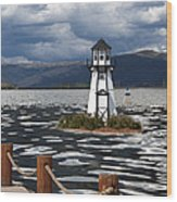Lighthouse In Lake Dillon Wood Print by Juli Scalzi