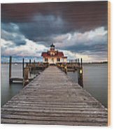 Lighthouse - Outer Banks Nc Manteo Lighthouse Roanoke Marshes Wood Print by Dave Allen