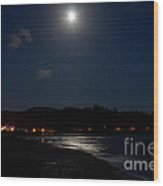 Lincoln City Moonlight Wood Print by John Daly