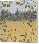 Little Bird And Fence Wood Print by Carolyn Doe