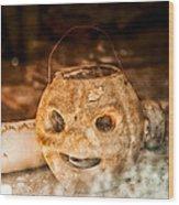 Little Orange Face Wood Print by Cat Connor
