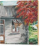 Little West Indian House 1 Wood Print by Karin  Dawn Kelshall- Best