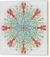 Lobster Mandala Wood Print by Stephanie Troxell