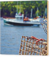 Lobster Trap In Maine Wood Print by Olivier Le Queinec