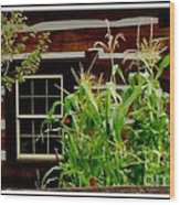 Log Cabin Window Wood Print by Gail Matthews