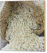Long Grain Rice In Burlap Sack Wood Print by Elena Elisseeva