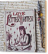 Love Letter Writer Book Wood Print by Garry Gay