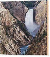 Lower Yellowstone Falls Wood Print by Bill Gallagher