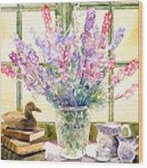 Lupins On Windowsill Wood Print by Julia Rowntree