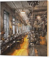 Machinist - Santa's Old Workshop Wood Print by Mike Savad
